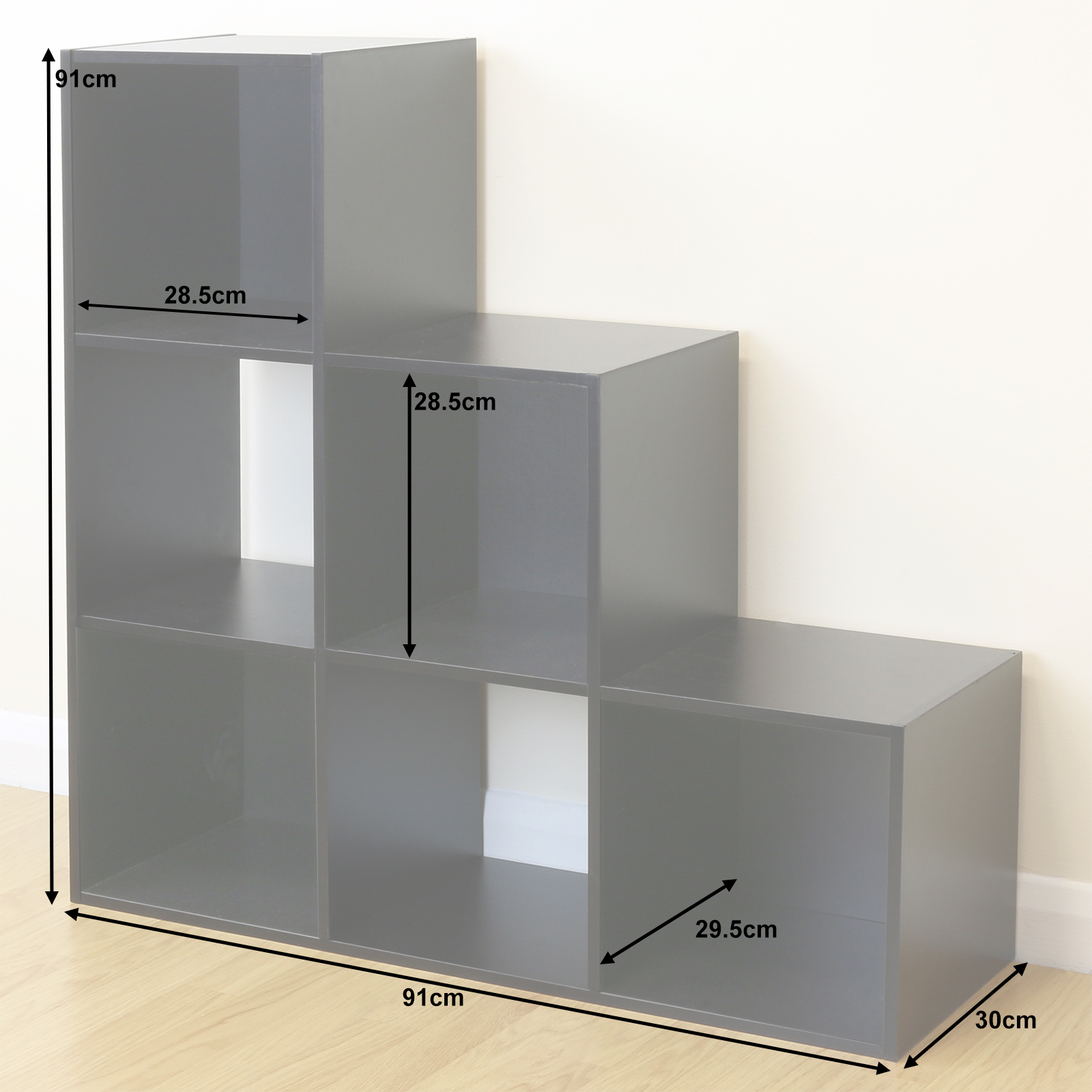 Kids Storage Cube Organizer Toy Box Kids Bedroom Furniture: 6 Cube Kids Black Toy/Games Storage Unit Girls/Boys/Childs