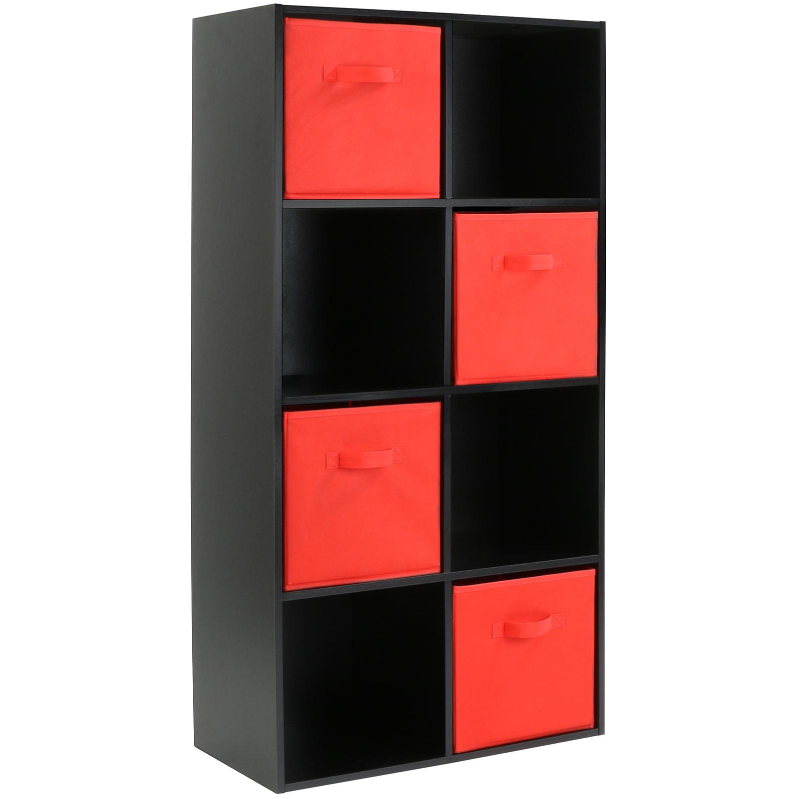 hartleys black 8 cube modular shelving display unit 4 x red fabric storage box. Black Bedroom Furniture Sets. Home Design Ideas