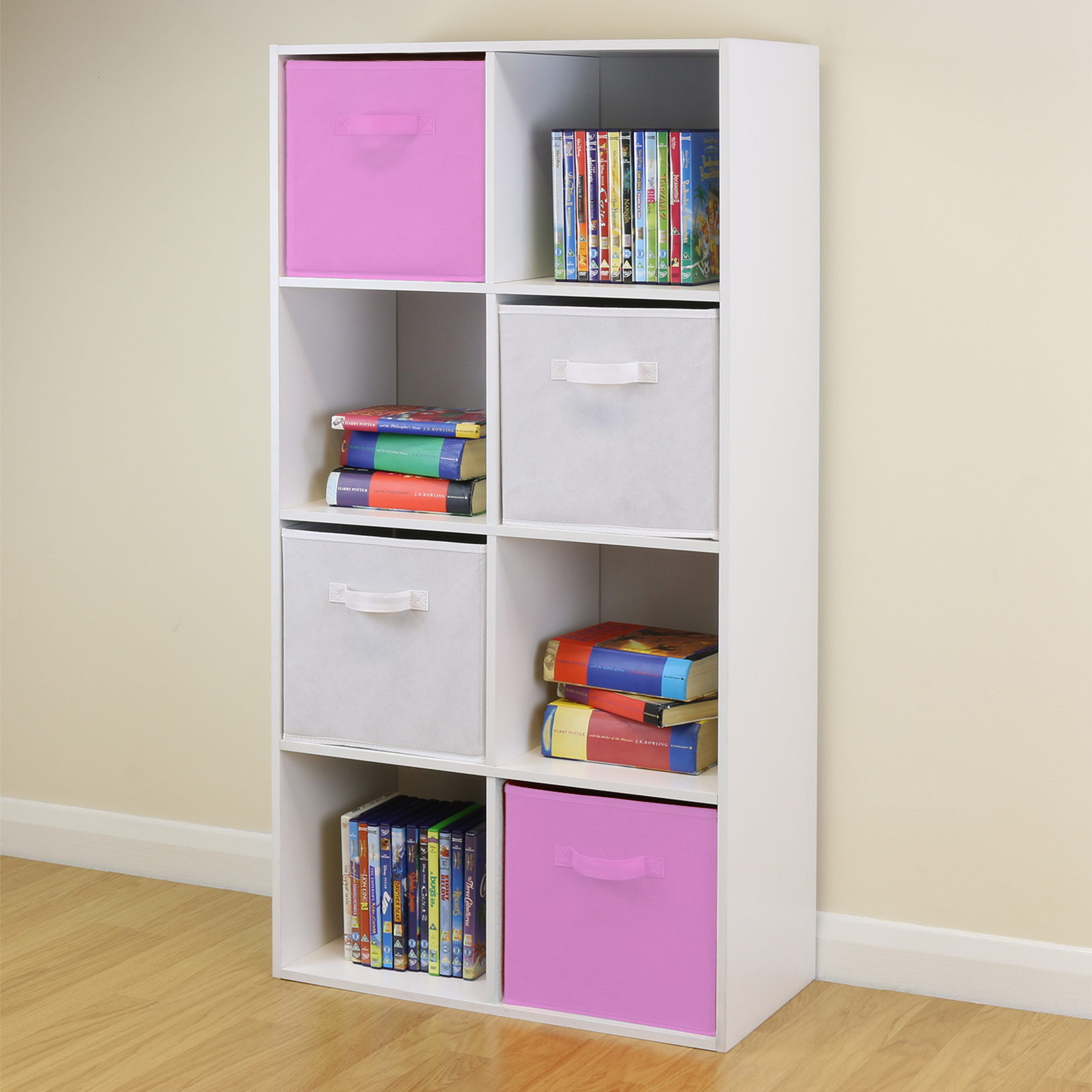 Boy Bedroom Storage: 8 Cube Kids Pink & White Toy/Games Storage Unit Girls/Boys