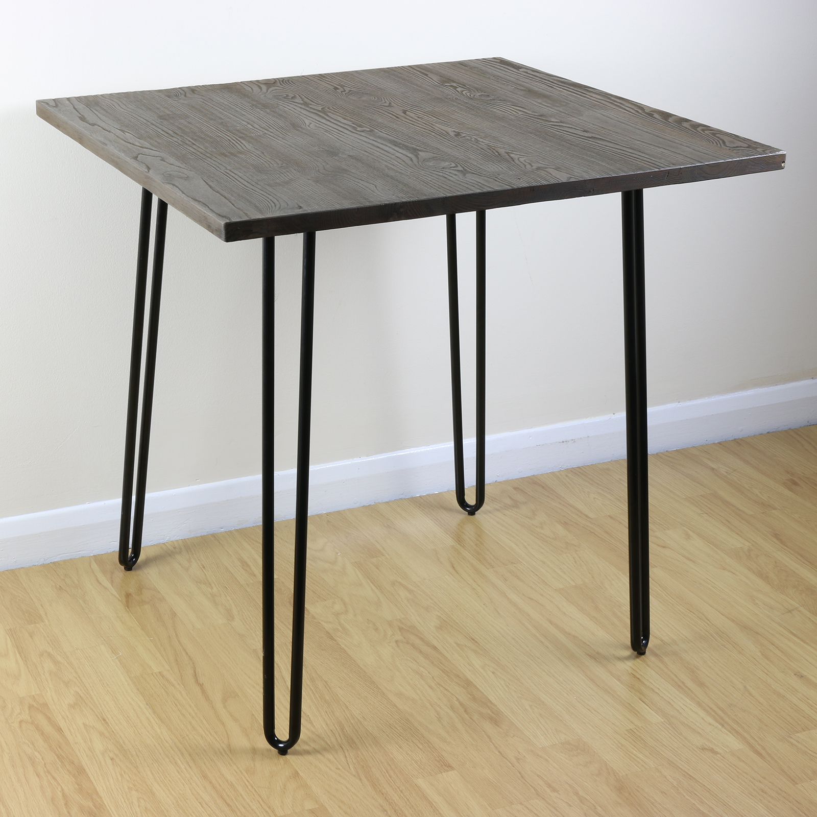 sale hairpin pin leg wood top black square industrial kitchen dining table ebay. Black Bedroom Furniture Sets. Home Design Ideas