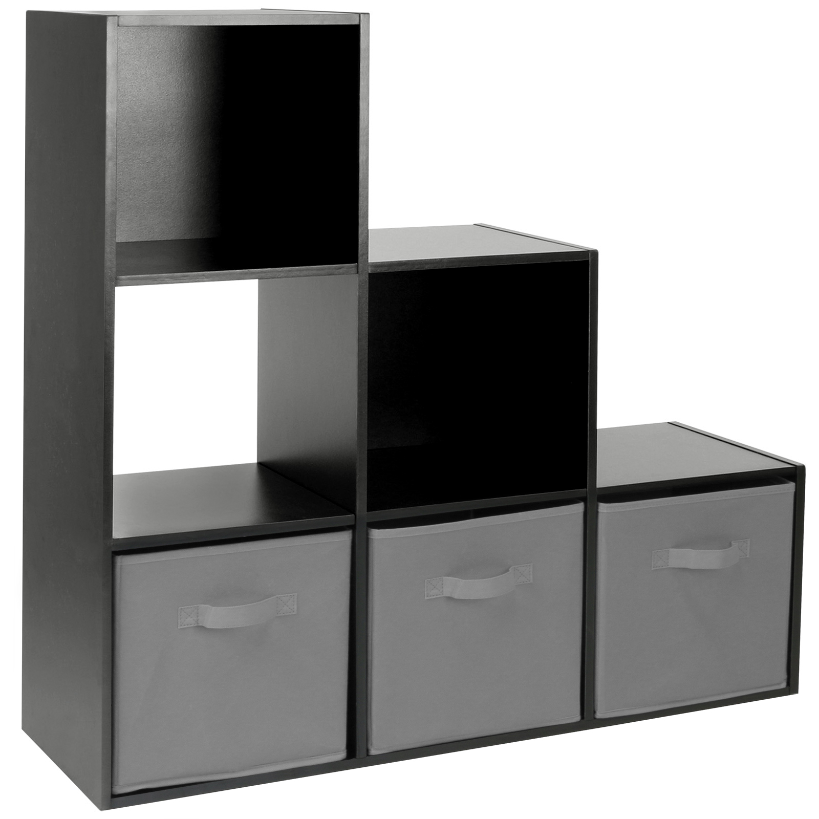 Hartleys Black 6 Cube Modular Shelving Display Unit 3 X