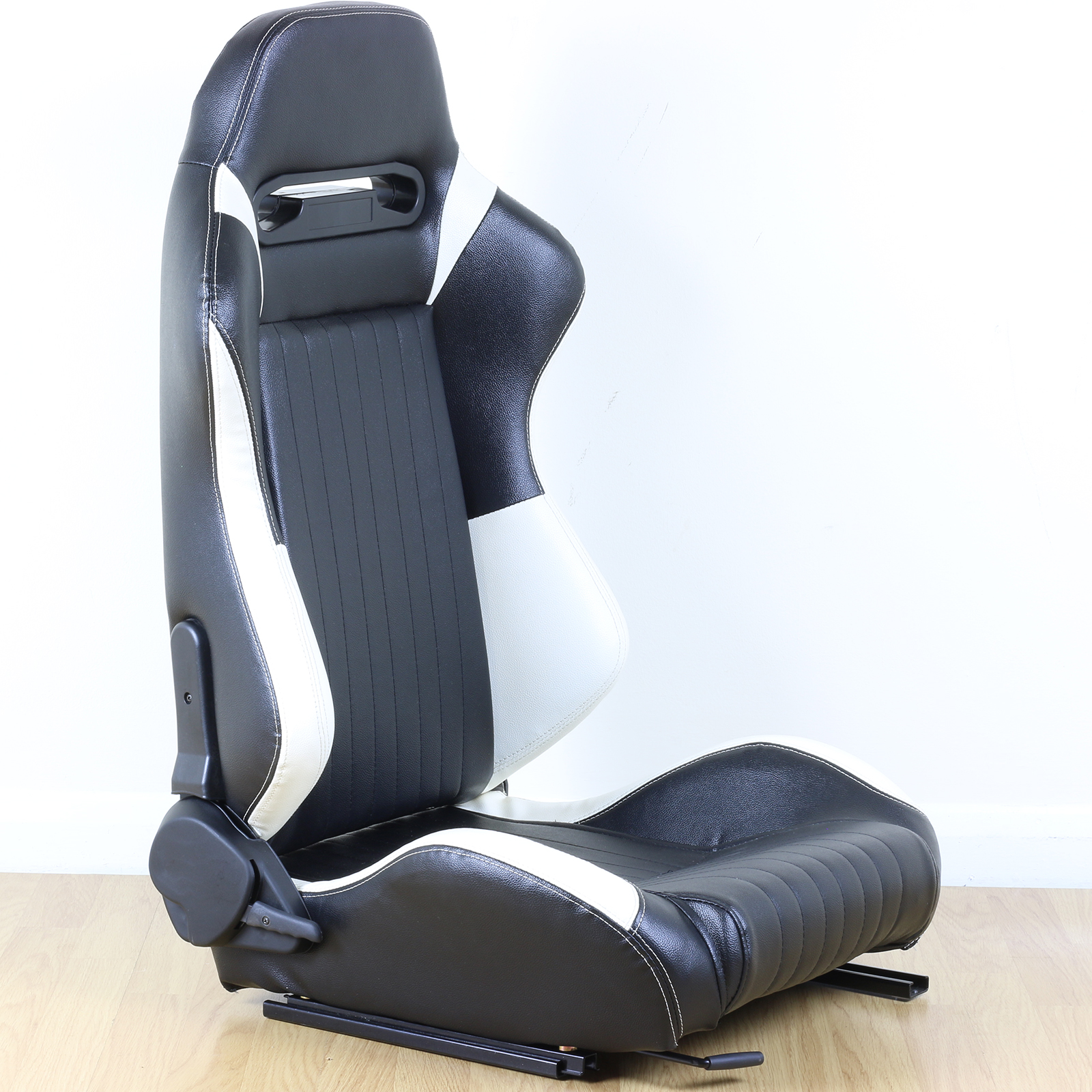 black white faux leather reclining adjustable bucket car seat sports racing ebay. Black Bedroom Furniture Sets. Home Design Ideas