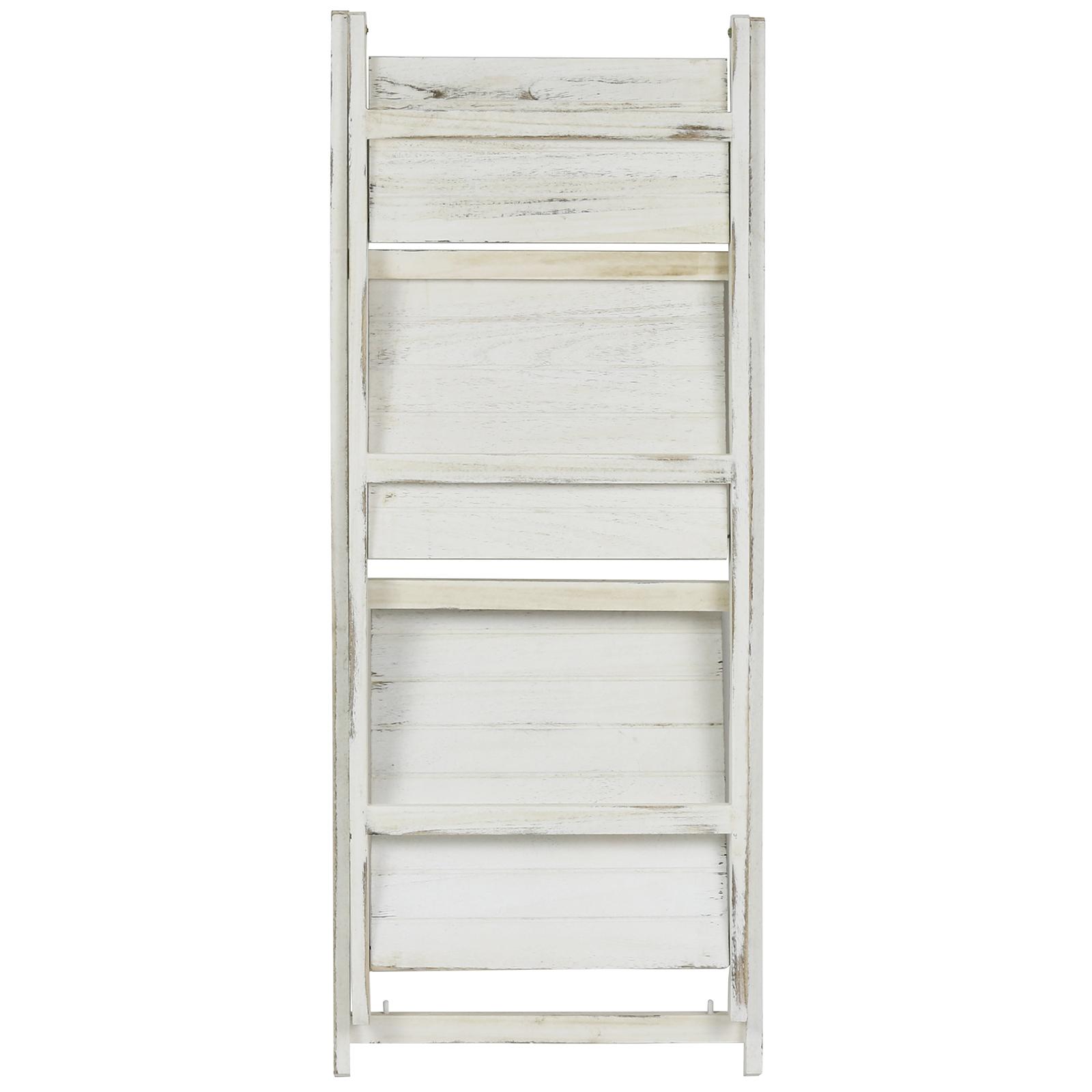 Hartleys White Wash 3 Tier Folding Ladder Storage Home