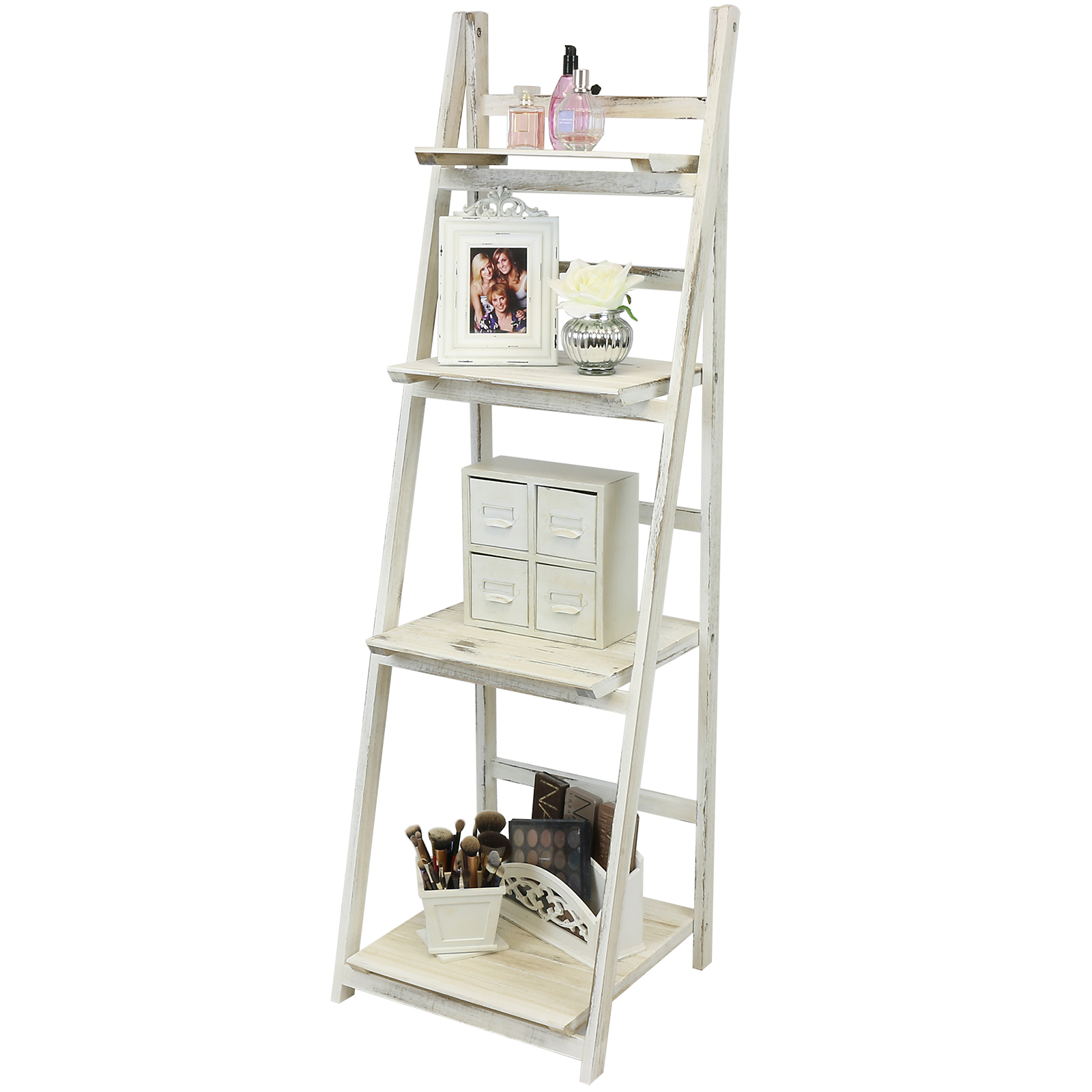 Hartleys White 4 Tier Folding Ladder Storage Home Display