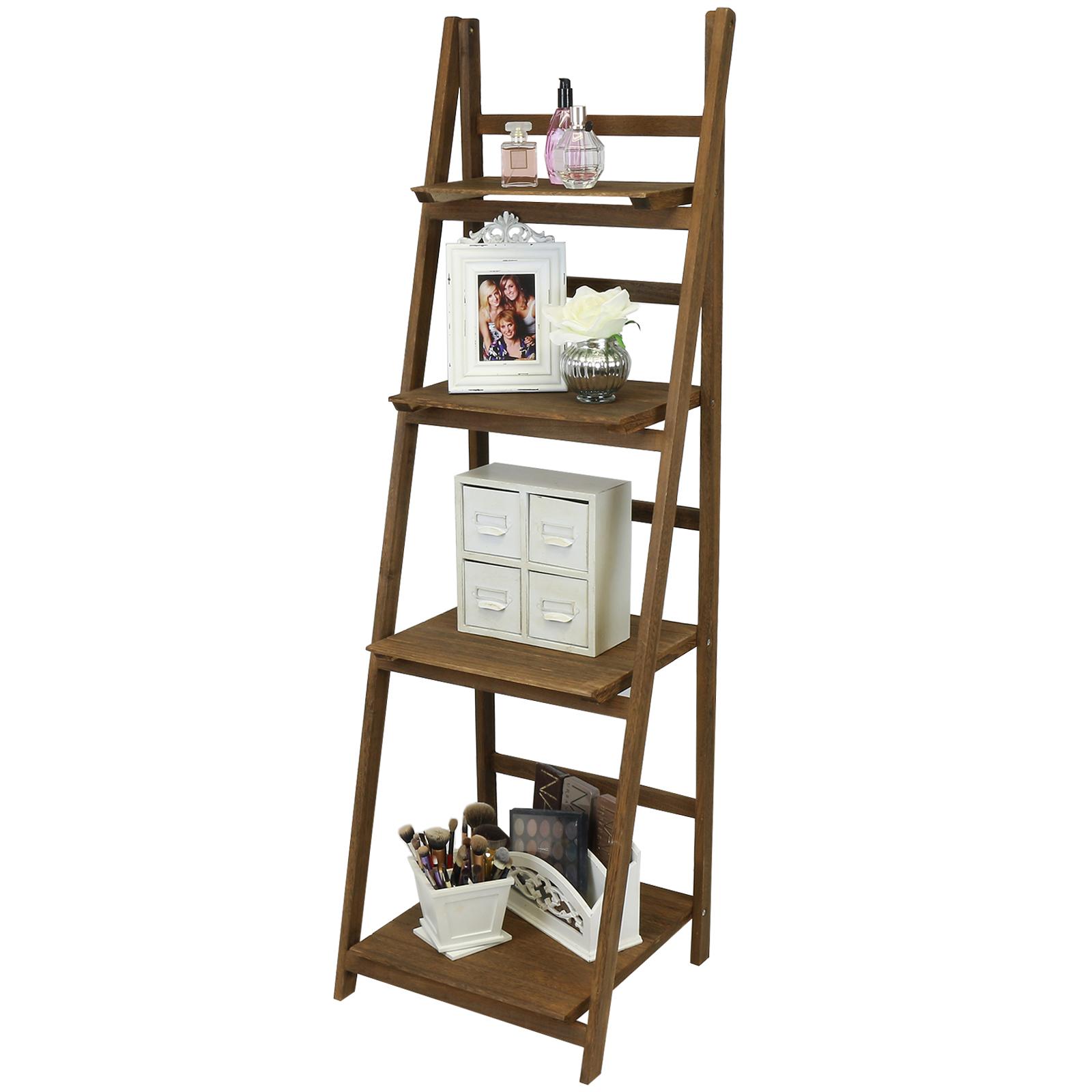 Hartleys Brown 4 Tier Folding Ladder Storage Home Display Shelf Bedroom Bathroom