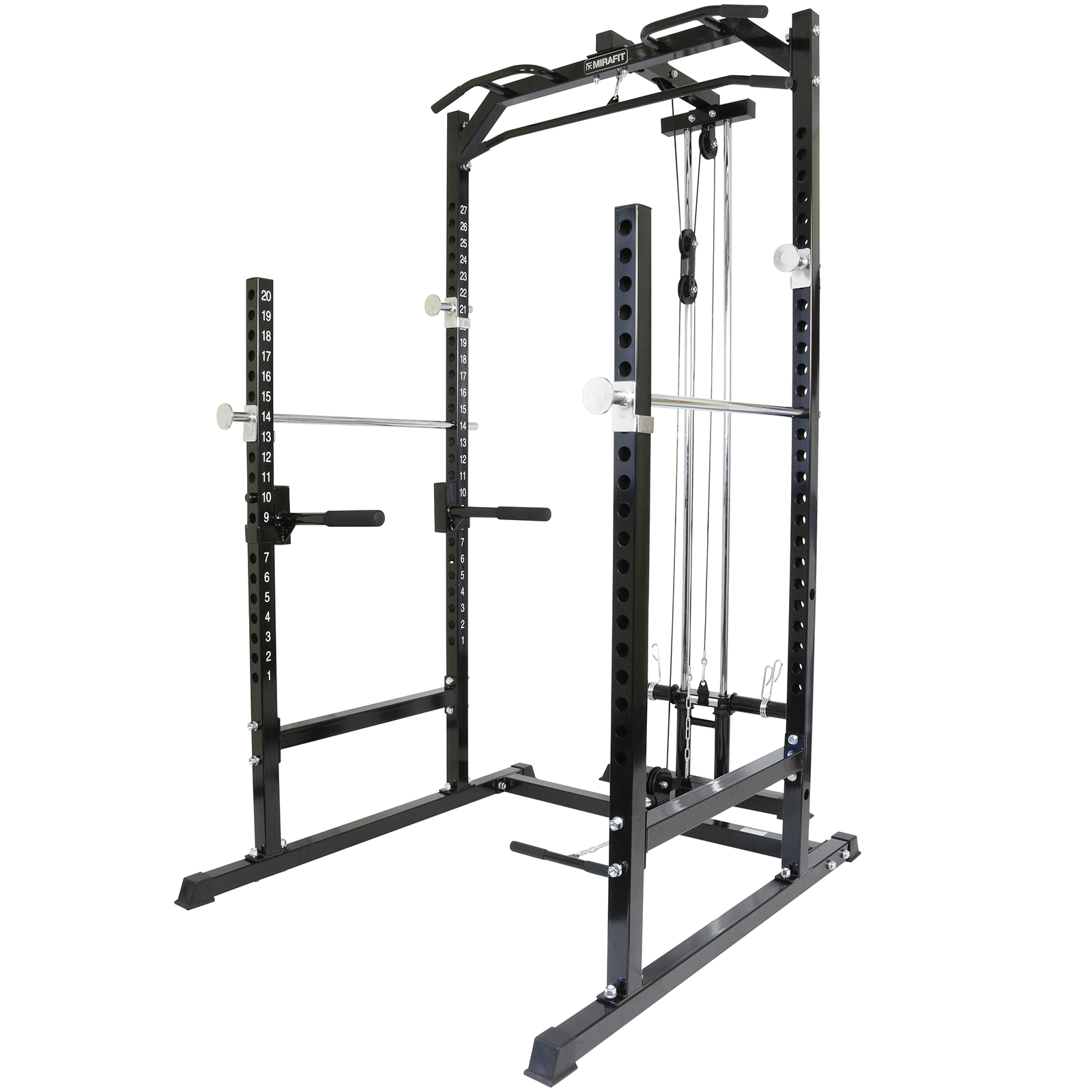 mirafit heavy duty half power cage squat gym rack cable pull up down row curl ebay. Black Bedroom Furniture Sets. Home Design Ideas