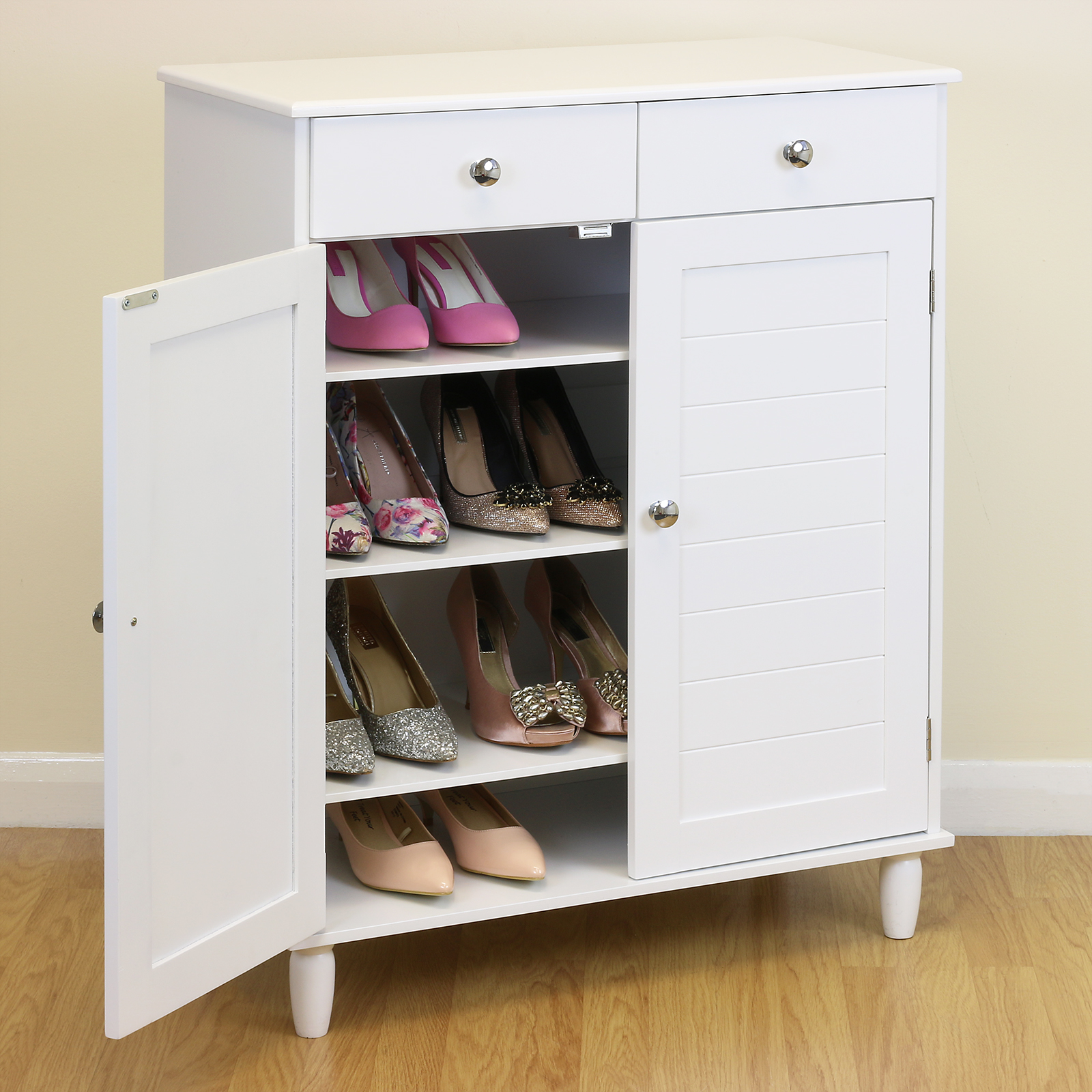 Today we're showing off some beautiful ways to organize your shoe collection and stylize the nook they already live in. From mudrooms to bedrooms, there are a variety of places around the house they can and will get cluttered with the family's shoes, so why not find a piece to keep them stored and ready for the day's events? Let's take a look at 20 shoe storage cabinets that are both.