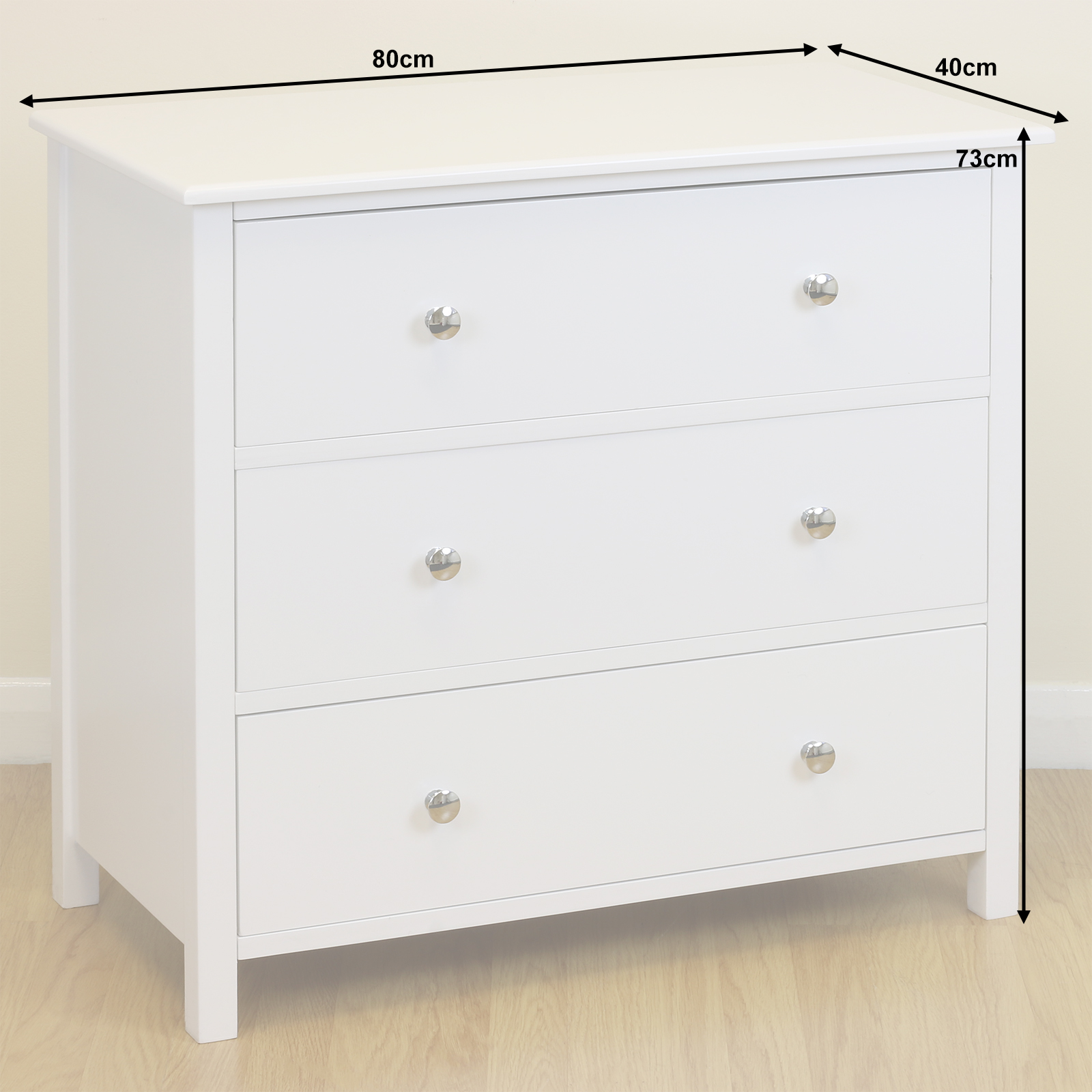 White wooden 3 drawer wide chest unit cabinet bedroom - Bedroom storage cabinets with drawers ...