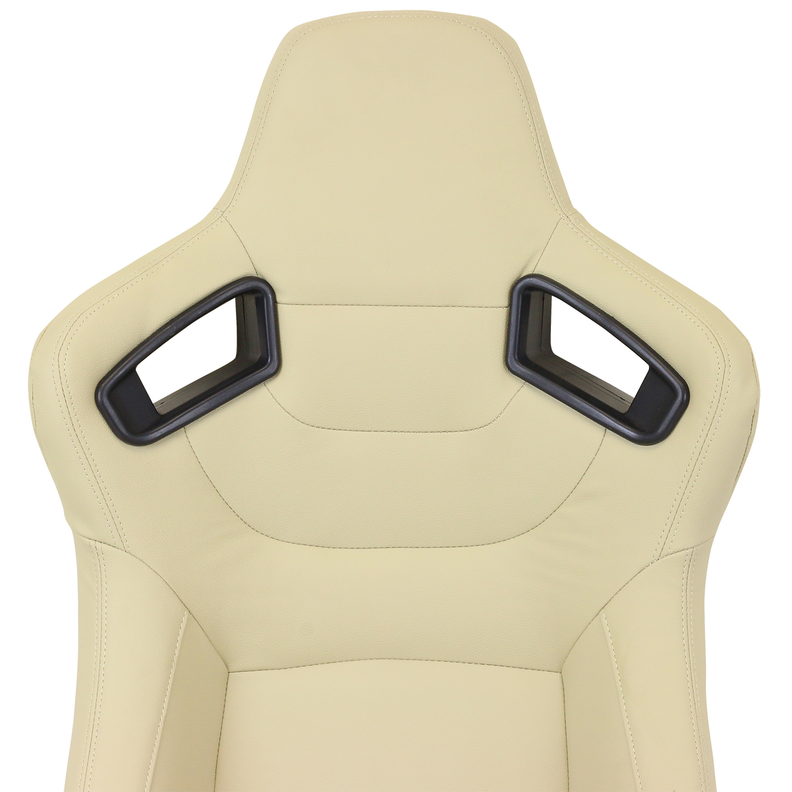 pair of cream pvc leather fully reclining bucket car seats sports racing seat ebay. Black Bedroom Furniture Sets. Home Design Ideas