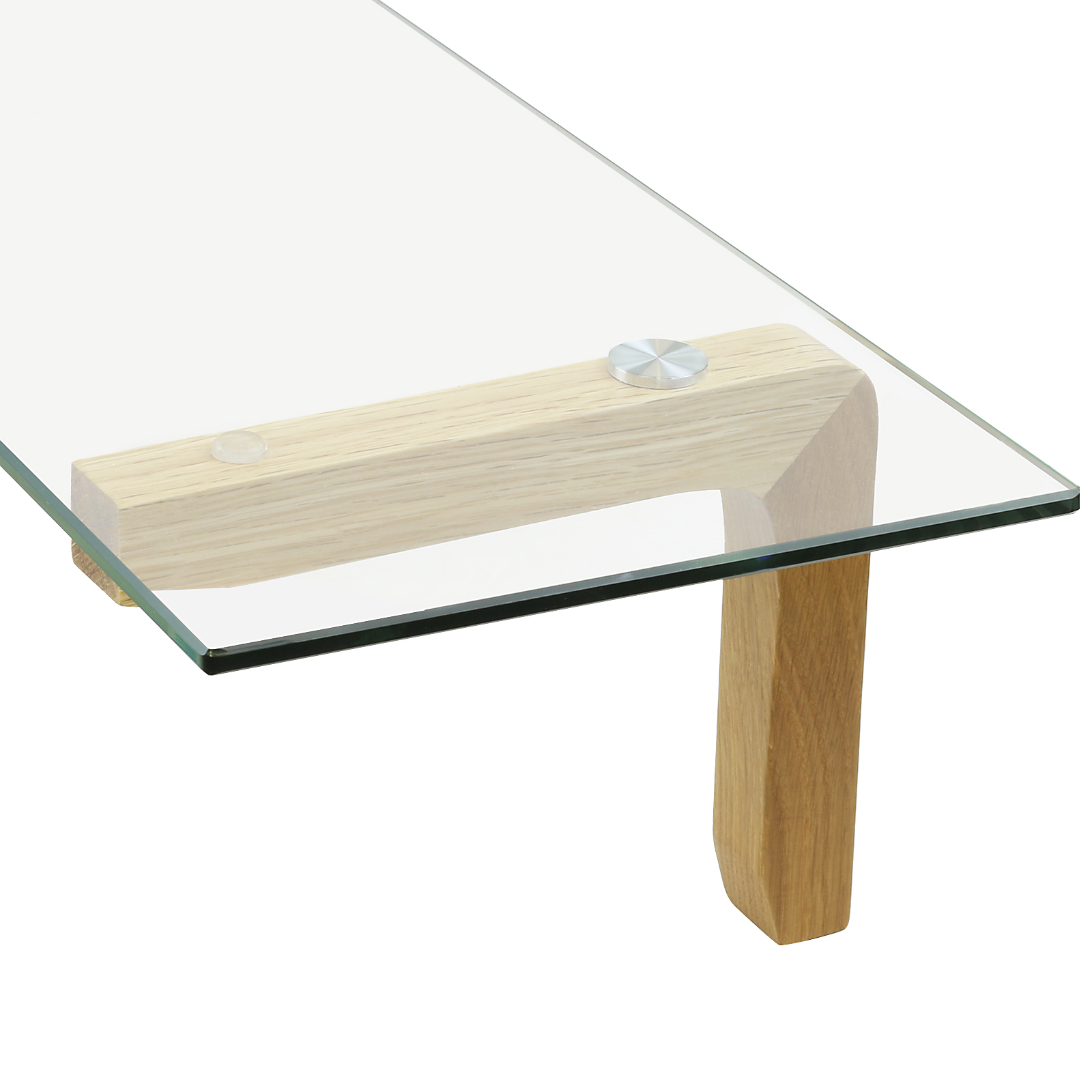 hartleys oak wood bracket clear glass floating wall shelf home display storage. Black Bedroom Furniture Sets. Home Design Ideas