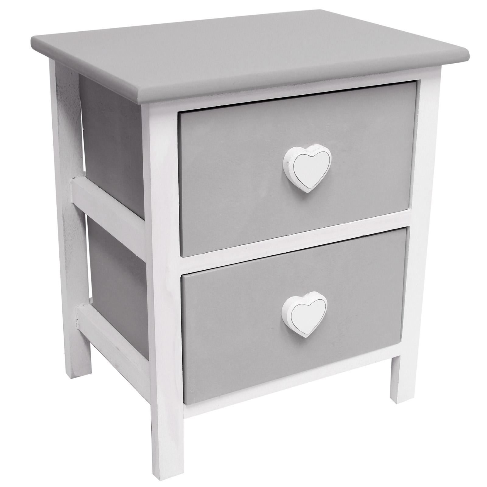hartleys nachtschr nkchen mit 2 schubladen vintage design wei grau ebay. Black Bedroom Furniture Sets. Home Design Ideas