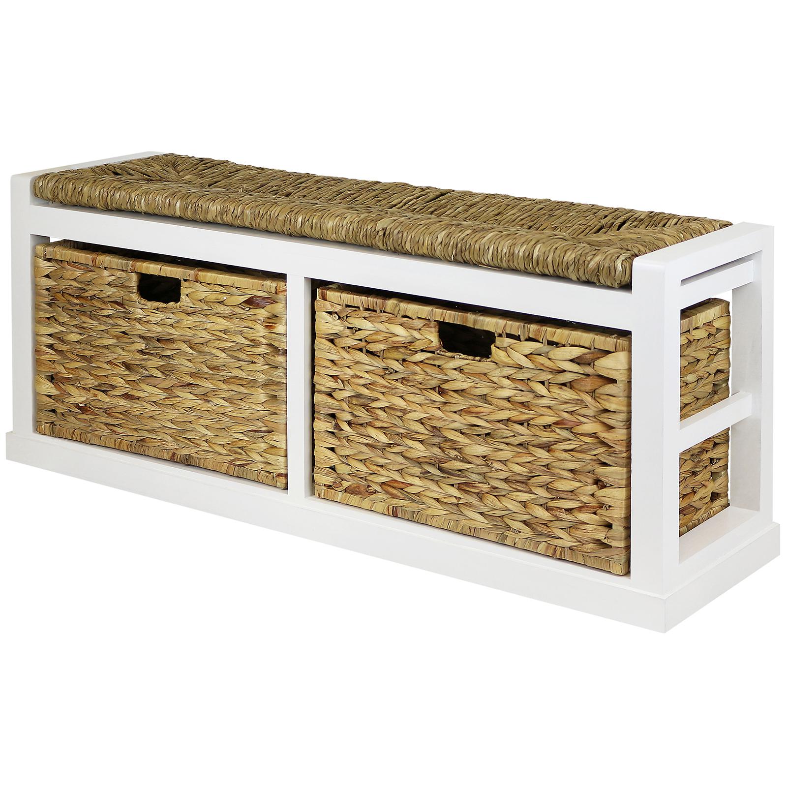 Sale Wide 2 Drawer Hallway Storage Bench Wicker Seat
