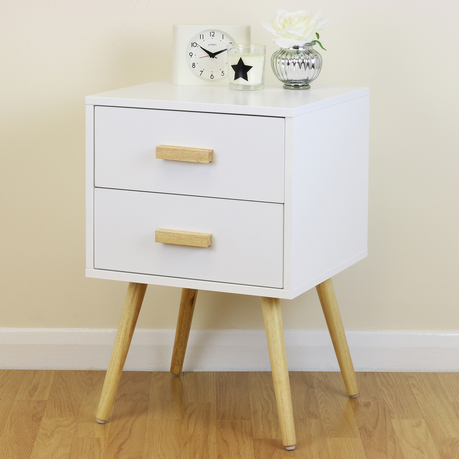 White & Wood Retro Nightstand Side Cabinet/End Table