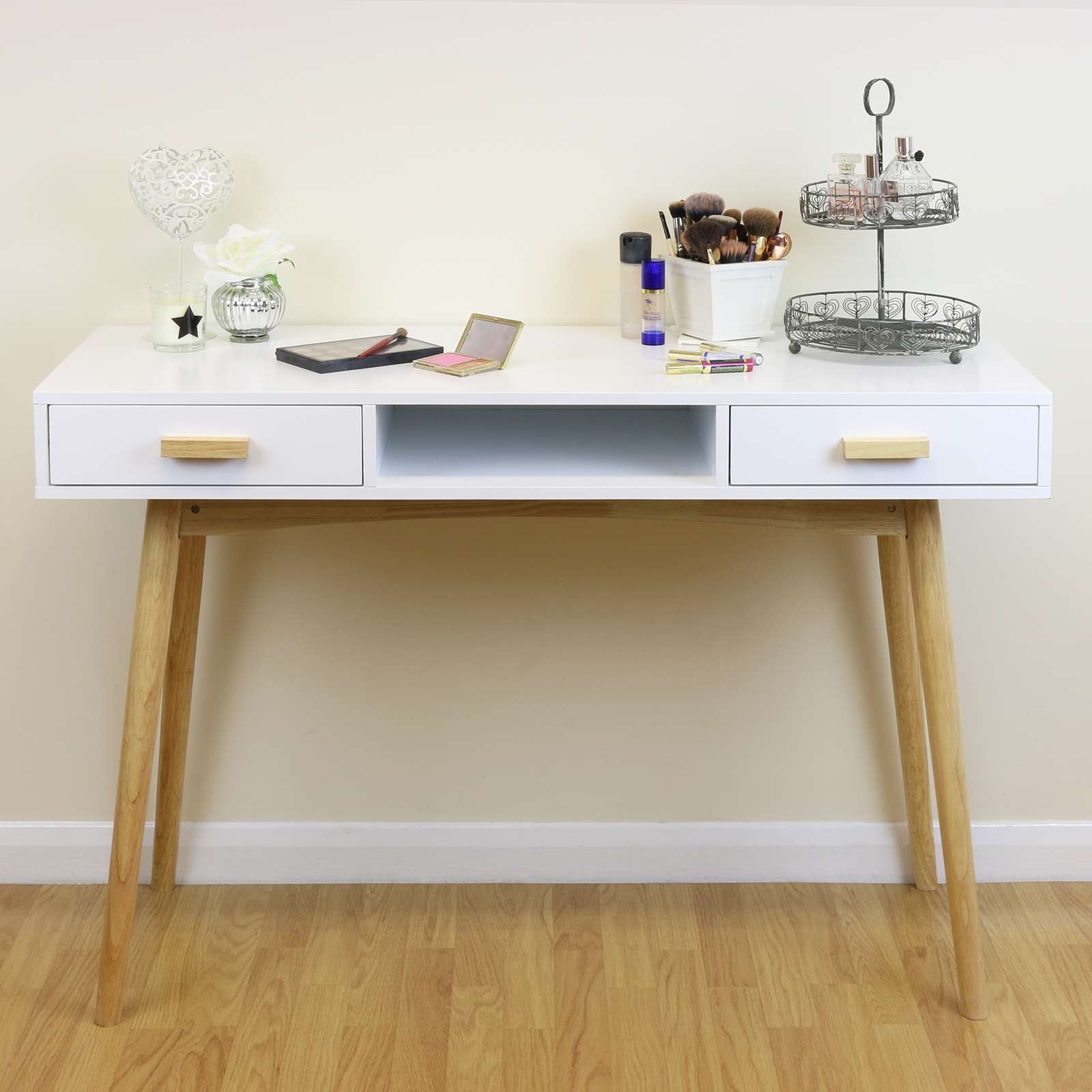 White Scandinavian Modern Bedroom Dressing Table Makeup Vanity Home Office Desk Ebay