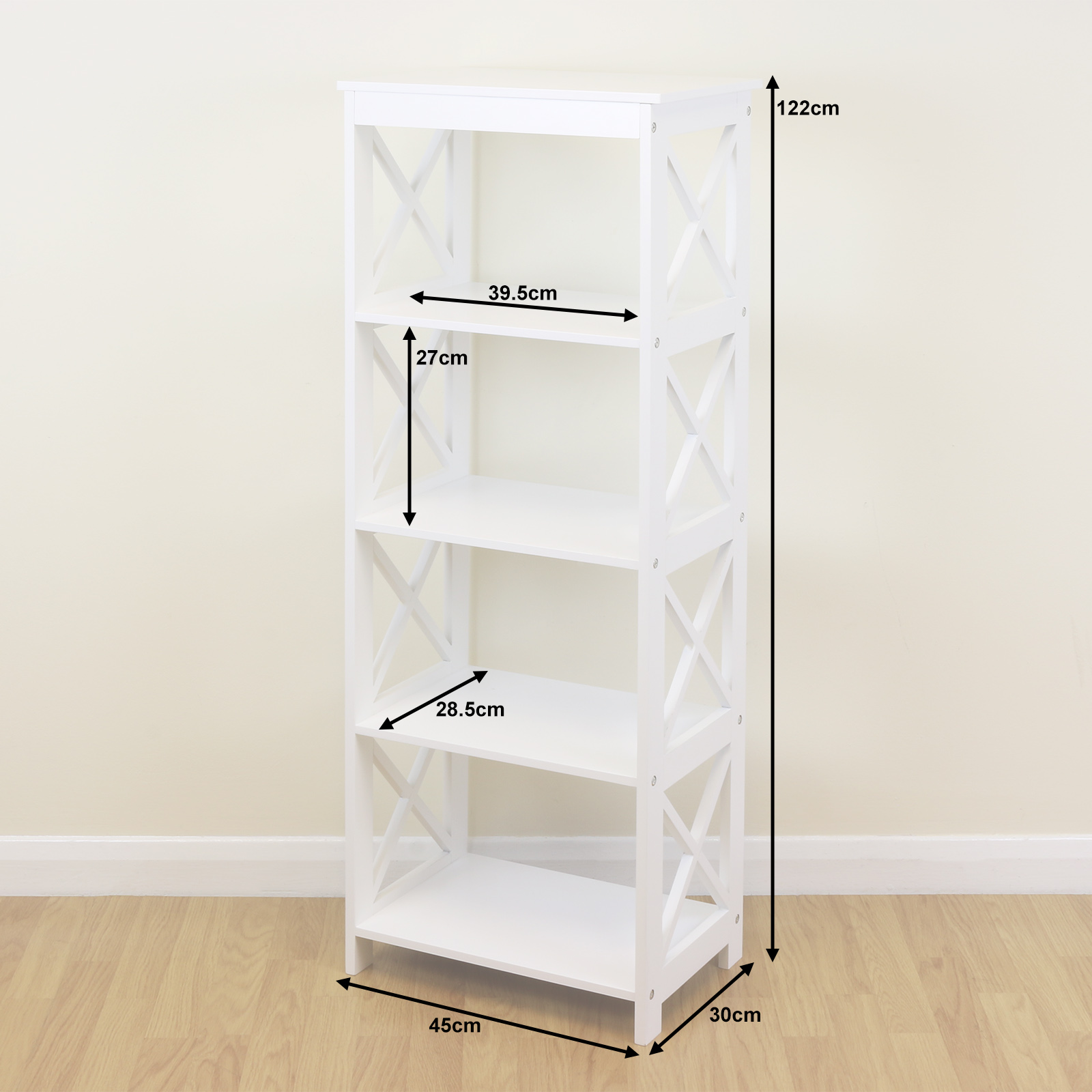 white 5 tier free standing home bookcase storage display. Black Bedroom Furniture Sets. Home Design Ideas