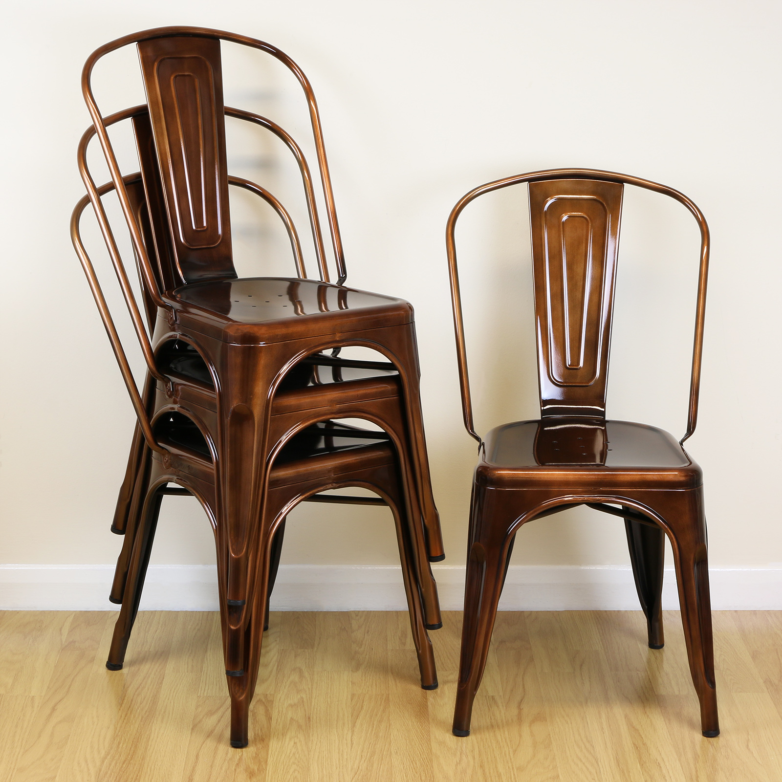 Set of 4 Copper Metal Industrial Dining Chairs Kitchen ...