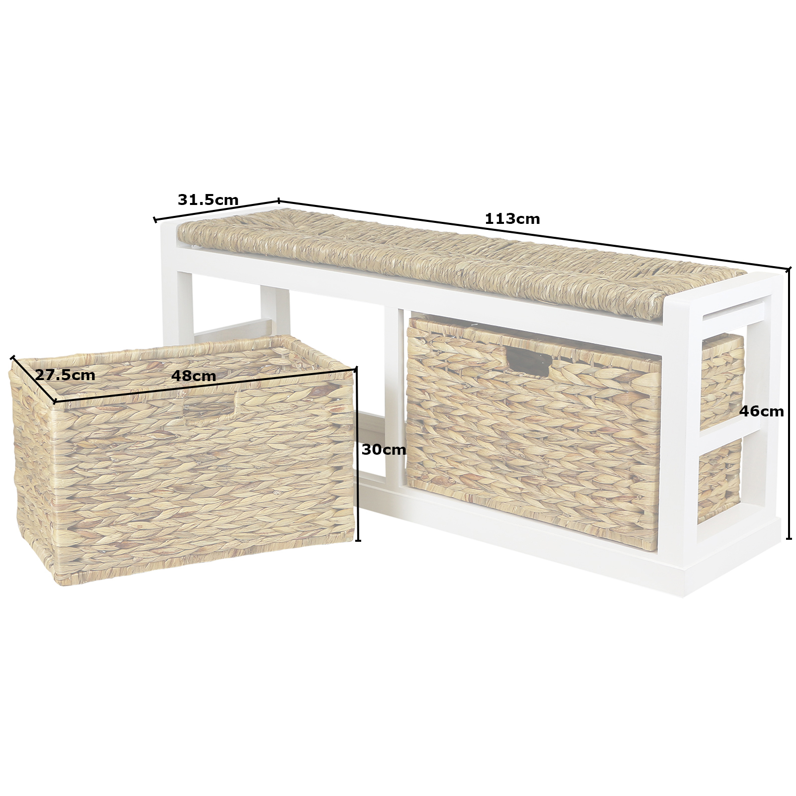 #816C4A  HARTLEYS WIDE 2 DRAWER BENCH WICKER SEAT CUSHION & BASKET DAMAGED #071 with 1600x1600 px of Recommended Wicker Storage Bench With Cushion 16001600 save image @ avoidforclosure.info