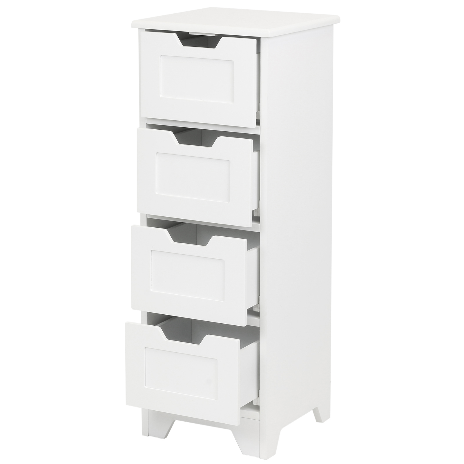 Sale white free standing 4 drawer slim bathroom cabinet for Slim bathroom cabinet
