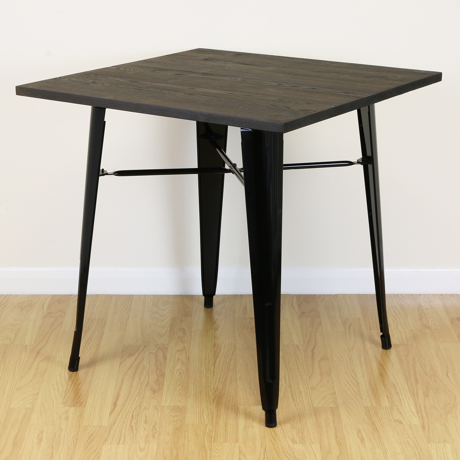 Square wood black kitchen dining cafe home table 2 4 for Square industrial dining table