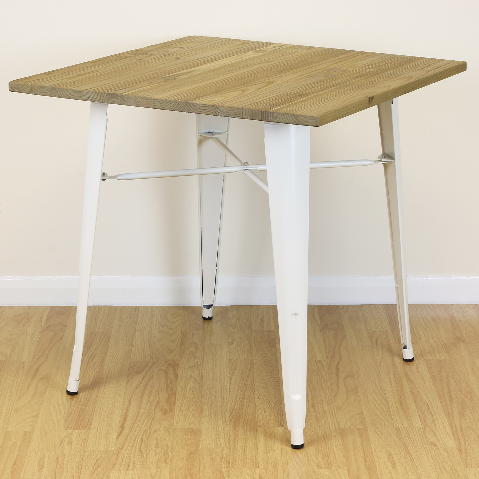 Square Wood & Cream Kitchen/Dining/Cafe Home Table 2/4