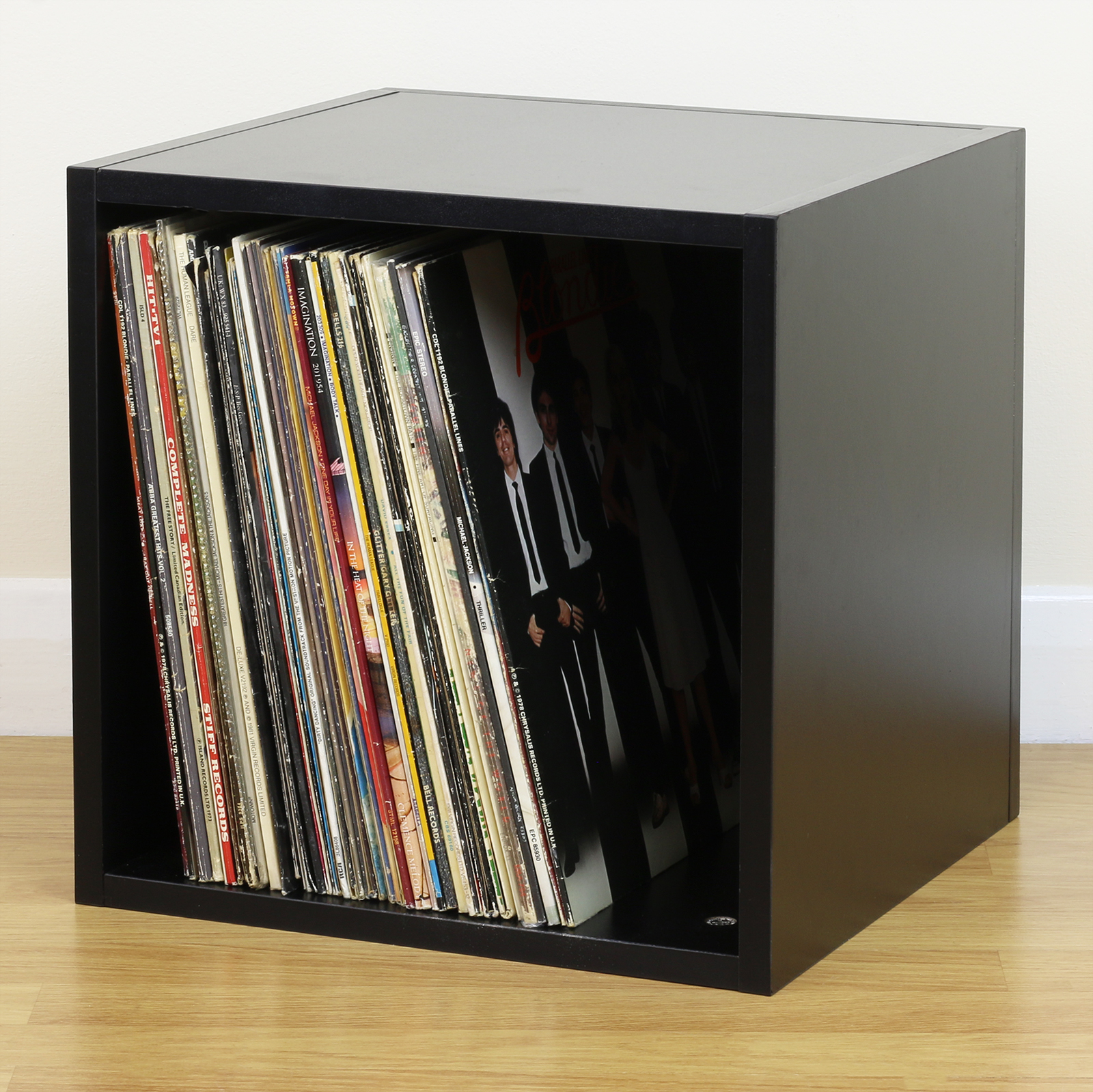 Black Square Lp Vinyl Music Record Storage Cube Cabinet