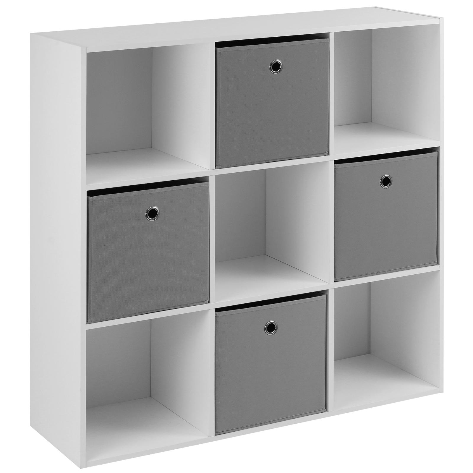 Hartleys White 9 Cube Shelving Display Unit 4 X Grey