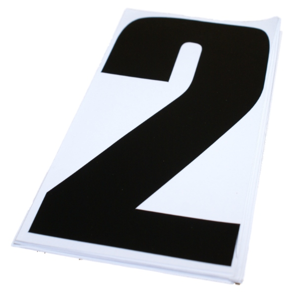 NUMBER 2 BLACK 6 INCH MOTOCROSS/MOTOX/MOTORBIKE RACING STICKERS/NUMBERS 10 PACK Enlarged Preview