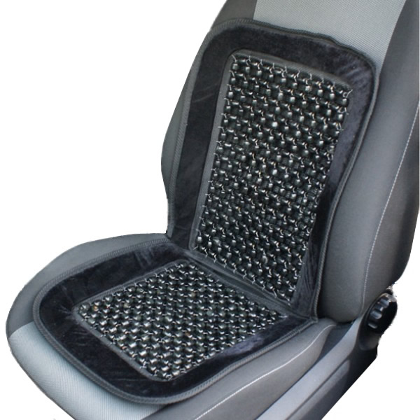 black wooden bead beaded massaging front seat cover
