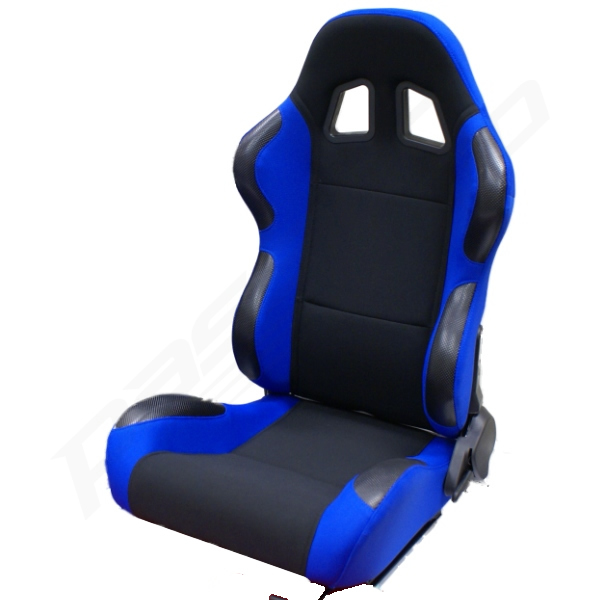 RECLINING BUCKET CAR SEAT - BLUE & BLACK COLOUR - NEW - SPORTS/RACING SEATS Enlarged Preview