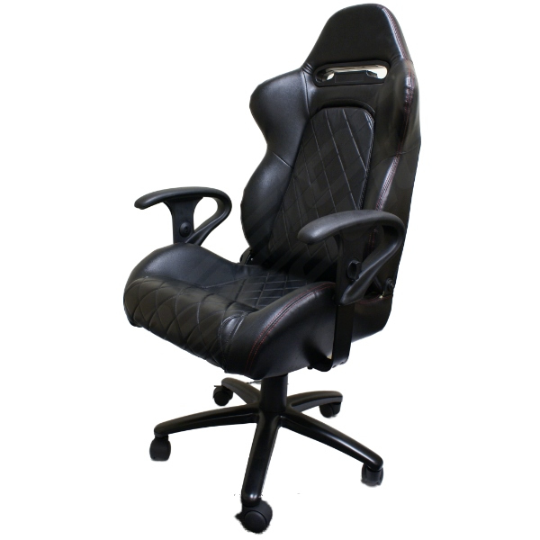 LUXURY EXECUTIVE BLACK BUCKET CAR SEAT OFFICE/DESK/COMPUTER CHAIR NEW ADJUSTABLE Enlarged Preview