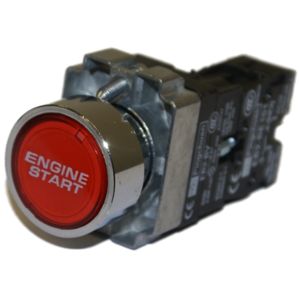 CHROME CAR ENGINE STARTER ILLUMINATED PUSH BUTTON START SWITCH - RED 12V Enlarged Preview
