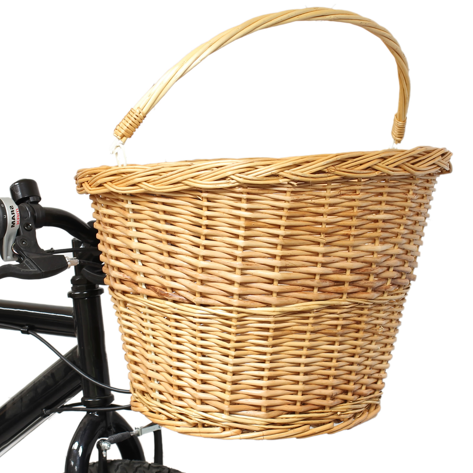 PEDALPRO BICYCLE/BIKE/CYCLE HANDLEBAR WICKER SHOPPING BASKET WITH CARRY HANDLE Enlarged Preview