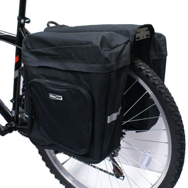 PEDALPRO BICYCLE/BIKE/CYCLE BLACK TWIN/DOUBLE STRONG REAR PANNIER BAG Enlarged Preview