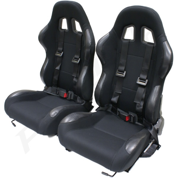 black reclining bucket car seats with racing harnesses. Black Bedroom Furniture Sets. Home Design Ideas