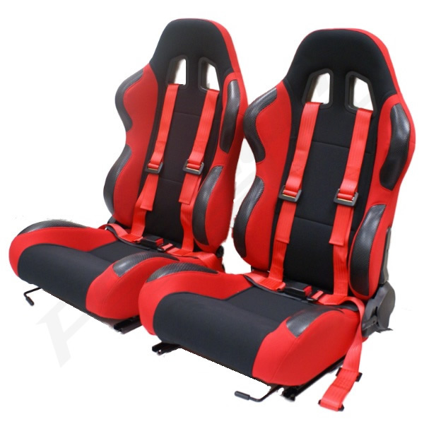 red reclining bucket car seats with racing harnesses ebay. Black Bedroom Furniture Sets. Home Design Ideas