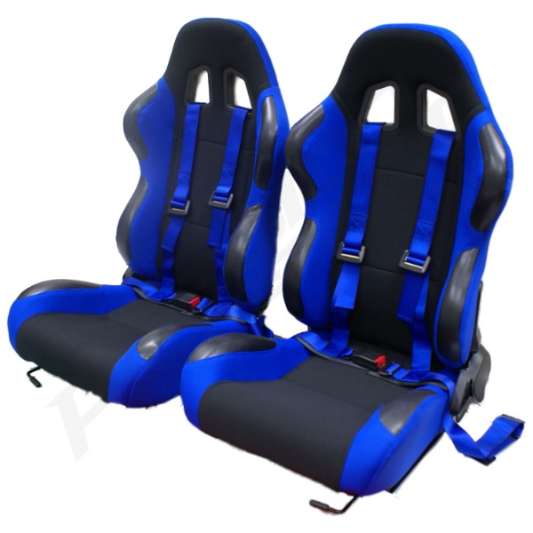 Blue Reclining Bucket Car Seats With Racing Harnesses Ebay