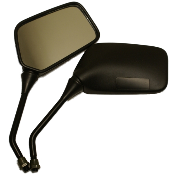 PAIR OF UNIVERSAL MOTORCYCLE MIRRORS 10MM IN BLACK BIKE/MOTORBIKE REAR VIEW SIDE Enlarged Preview