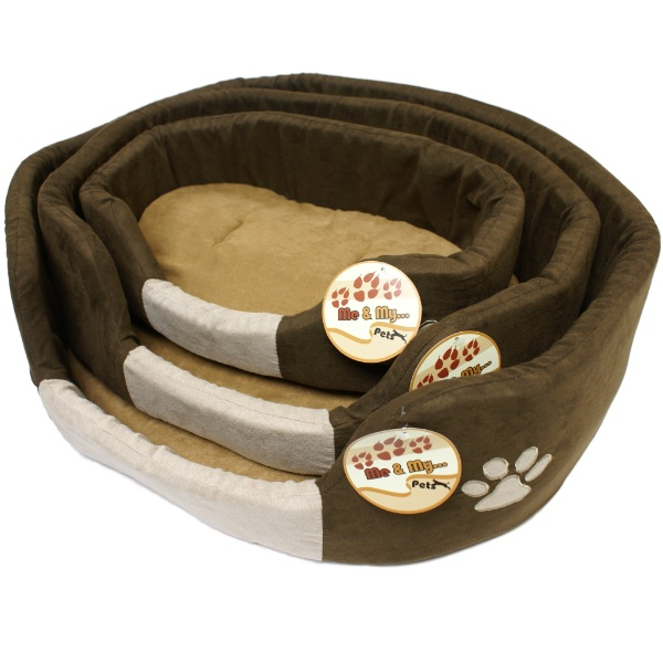 ME & MY SOFT BROWN & BEIGE DOG/PUPPY PET BED AND CUSHION XS/S/M/L SMALL/LARGE Enlarged Preview