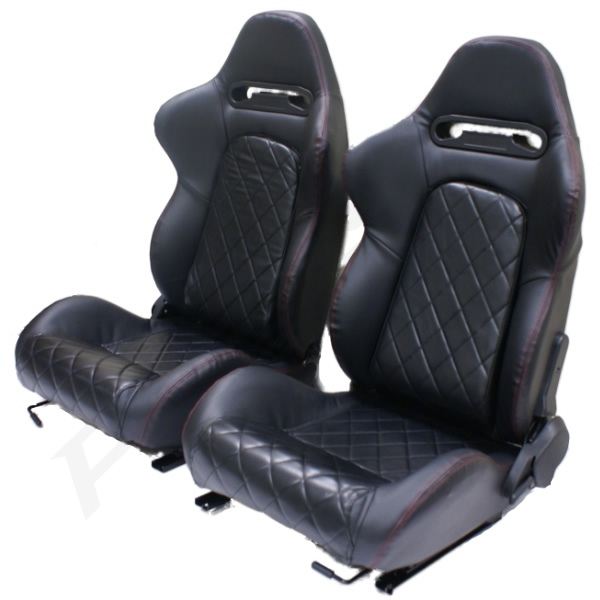 sale pair of luxury black pvc reclining sports bucket car seats leather effect ebay. Black Bedroom Furniture Sets. Home Design Ideas