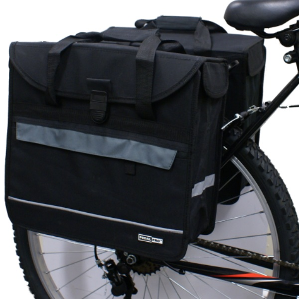 PAIR OF PEDALPRO BICYCLE REAR RACK PANNIER BAGS TWIN/DOUBLE BIKE/CYCLE COMMUTER