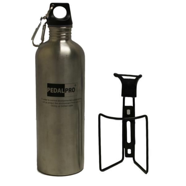 PEDALPRO BICYCLE/MOUNTAIN BIKE S/STEEL 750ML SPORTS WATER BOTTLE & HOLDER/CAGE Enlarged Preview