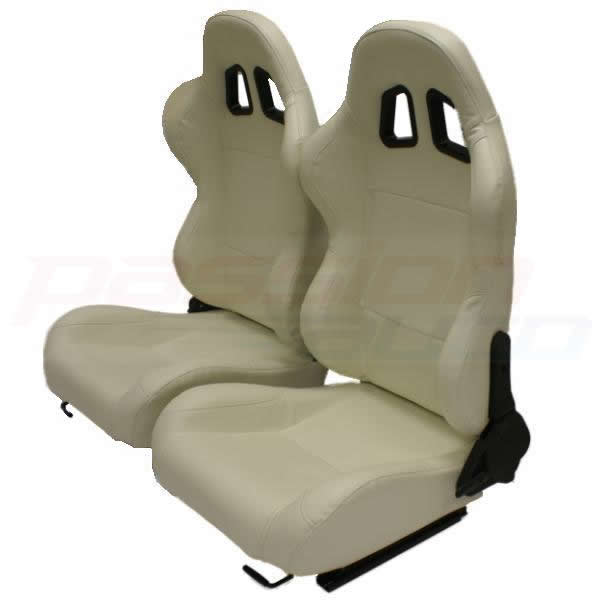 luxury cream pvc reclining bucket car seats sports car seat leather effect ebay. Black Bedroom Furniture Sets. Home Design Ideas