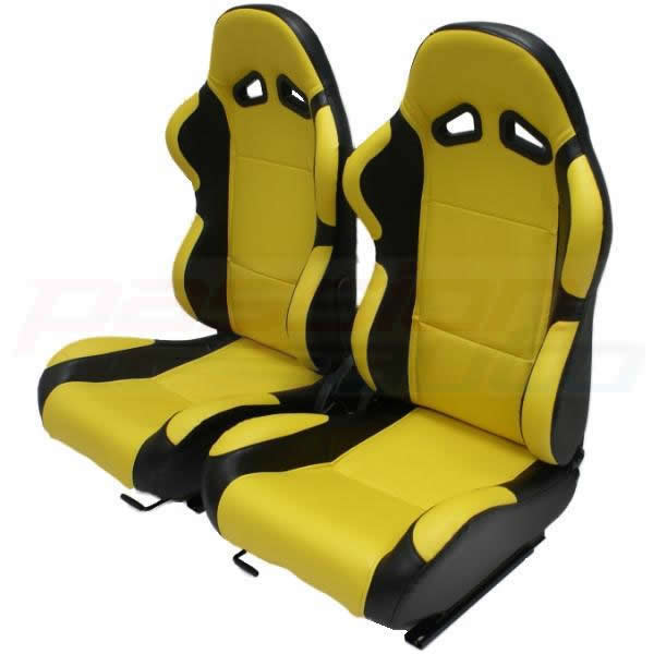 luxury yellow black pvc reclining bucket car seats sport car seat leather effect ebay. Black Bedroom Furniture Sets. Home Design Ideas