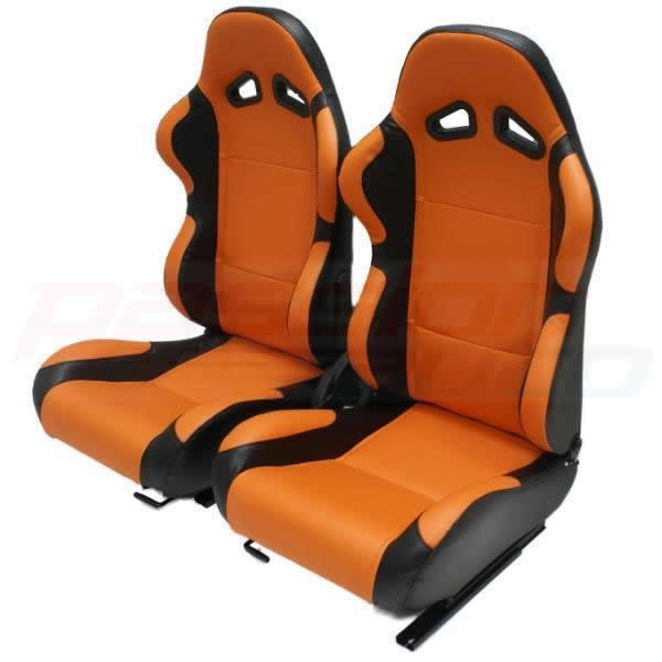 luxury orange black pvc reclining bucket car seats sport car seat leather effect ebay. Black Bedroom Furniture Sets. Home Design Ideas