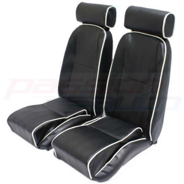 2 X BLACK PVC COMPACT SPORTS CAR SEATS FOR HOT ROD/KIT