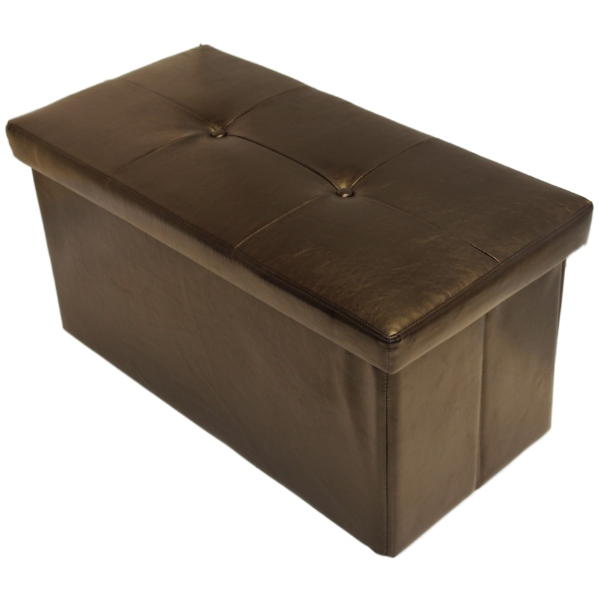 Kids Collapsible Ottoman Toy Books Box Storage Seat Chest: FOLDING BROWN OTTOMAN STORAGE/TOY CHEST/BEDDING BOX FAUX