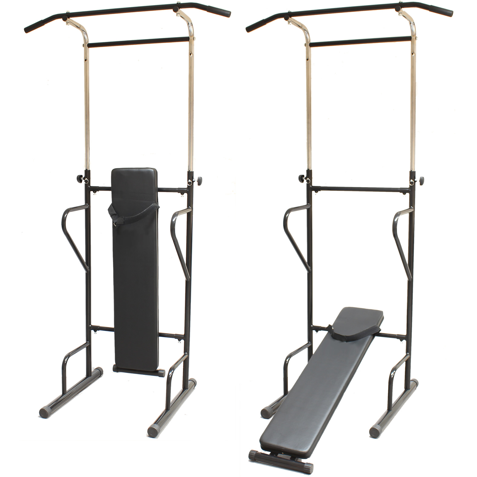 FITNESS POWER TOWER DIP STATION SIT/PULL/PRESS/CHIN UP BENCH BAR AB HOME GYM ABS Enlarged Preview