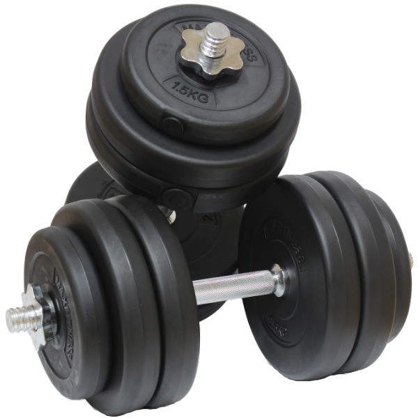MAX FITNESS 30KG DUMBBELL FREE WEIGHTS SET GYM BARBELLS BICEPS WORKOUT TRAINING  Enlarged Preview