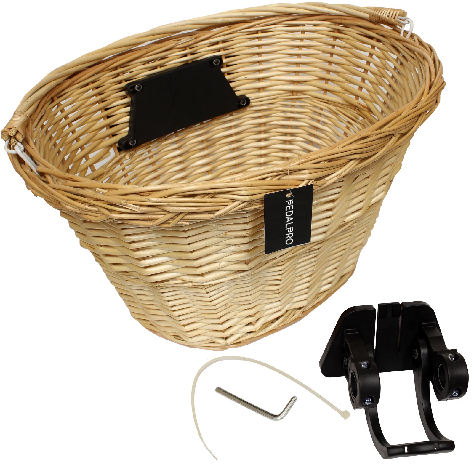 Wicker Bicycle Basket With Handle : Pedalpro quick release bicycle wicker ping basket