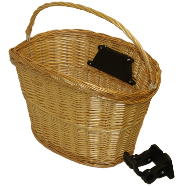 QUICK RELEASE BICYCLE WICKER SHOPPING BASKET WITH CARRY HANDLE BIKE/CYCLE CANE Enlarged Preview